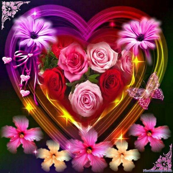 Belles images montage saint valentin page 20 - Coeur avec des fleurs ...