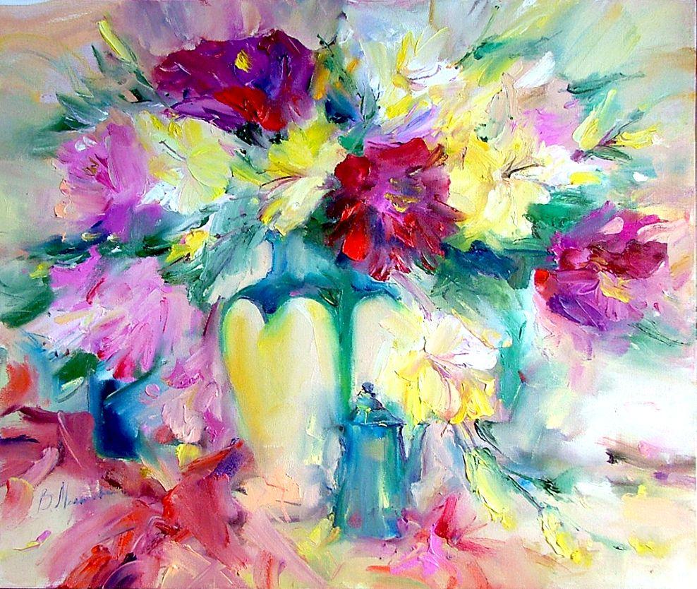 Peinture un gros bouquet de fleurs for Gros bouquet de fleurs